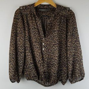 Zara Basic Animal Print Sheer Blouse
